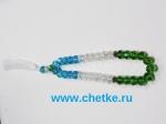 Четки 33 бусин из граненного стекла флаг Узбекистана