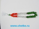 Четки 33 бусин из граненного стекла флаг Таджикистана