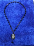 Четки-подвеска на шею из черного агата надписью МОХАММАД